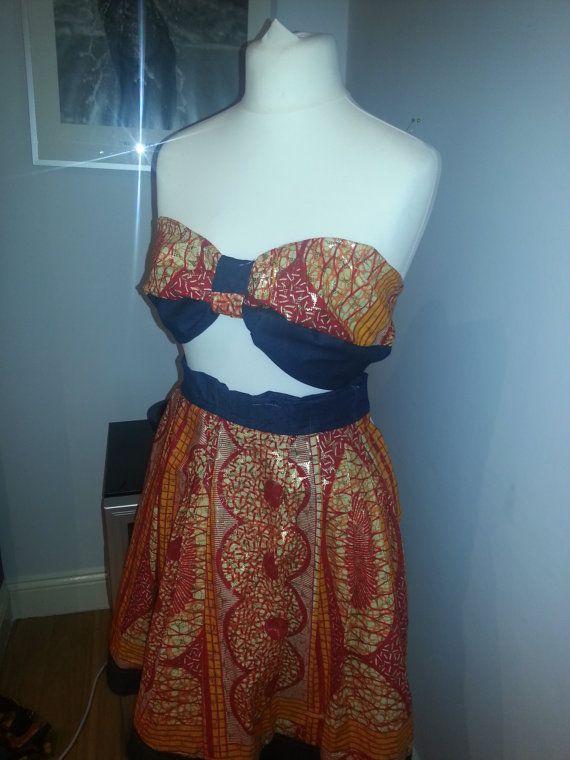 Custom made Ankara & Denim bandeau top and circle by AutumnsDNA - I like the band on top and bottom of skirt
