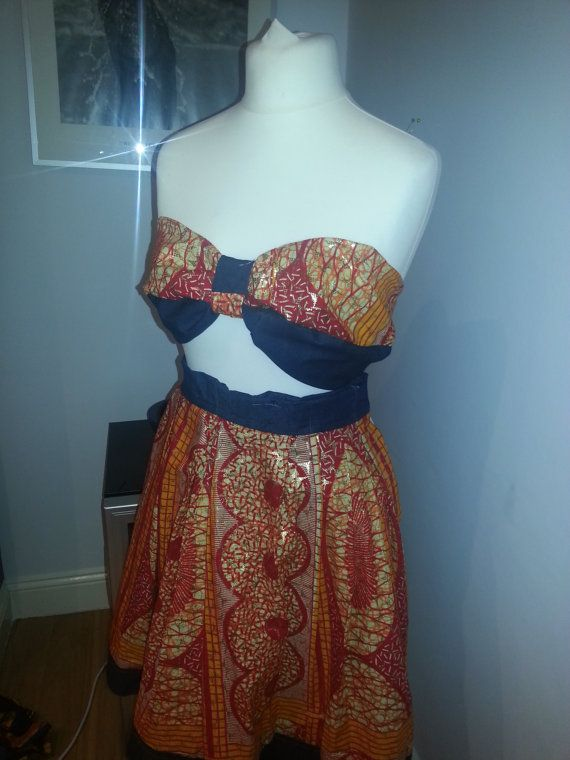 Custom made Ankara & Denim bandeau top and circle by AutumnsDNA - I like the band on top and bottom of skirt