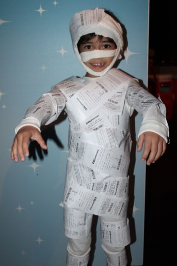 funny kids halloween costumes mummy made of receipts - Funniest Kids Halloween Costumes