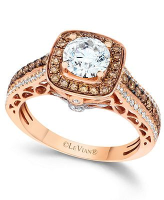 Le Vian Chocolate and White Diamond Engagement Ring in 14k Rose Gold (1-1/2 ct. t.w.)
