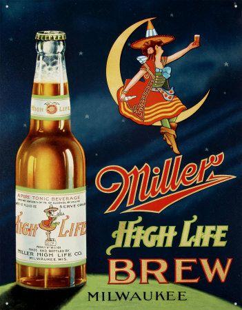 Miller High Life Brew girl on moon siren poster