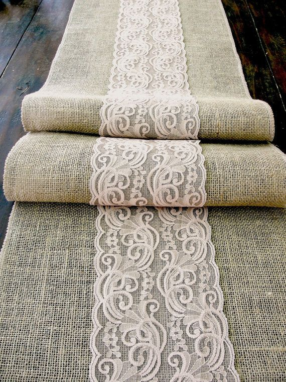 Burlap table runner wedding table runner with nude lace rustic table decor , handmade in the USA via Etsy