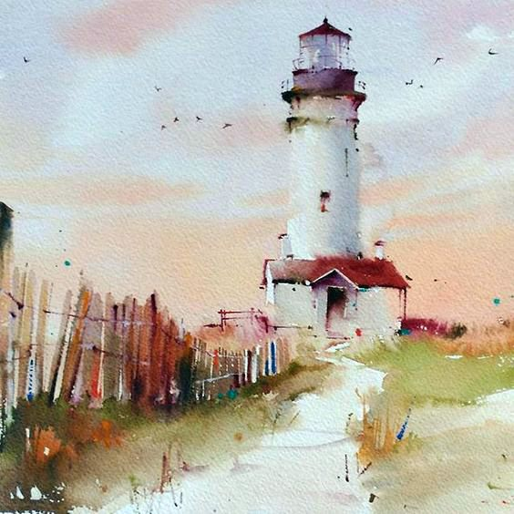 """Camino hacia el faro"" by Blanca Alvarez | Coastline Art, Piers & Lighthouses | Pinterest | Lighthouse painting, Watercolor and Painting"