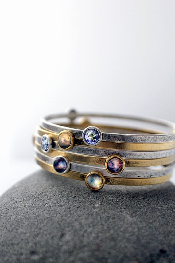 Galaxy Space Bracelet -  Universe Jewelry - Petite Solar System Planet and Nebula Bracelet - Space Jewelry, Bridesmaid Gift