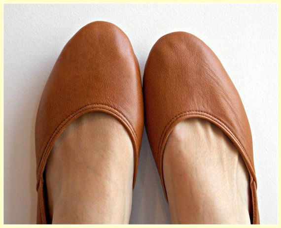 MAYA - Ballet Flats - Leather Shoes-40 -Tobacco brown. Available in different colours & sizes