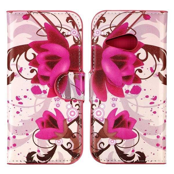 Paarse bloem bookcase hoesje voor HTC One Mini 2
