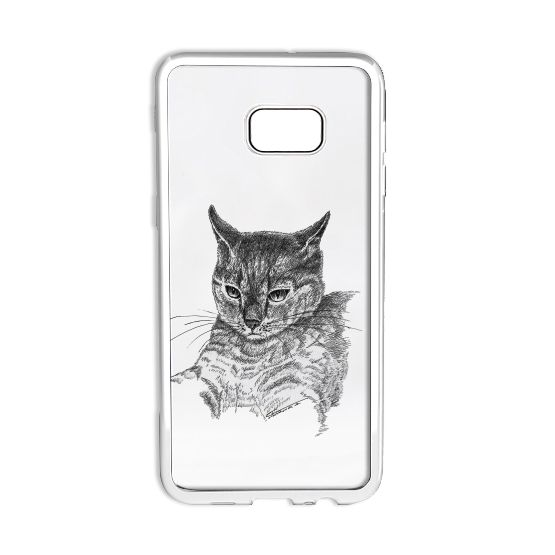Etui Samsung, grafika z kotem. Case Samsung, ink drawing - cat.