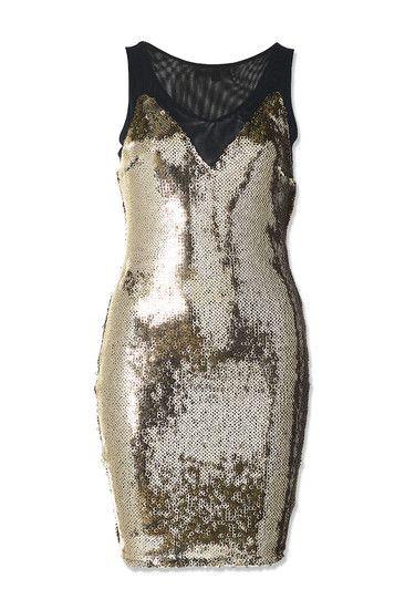 Goldfarbenes Pailletten-Kleid mit transparenten Elementen