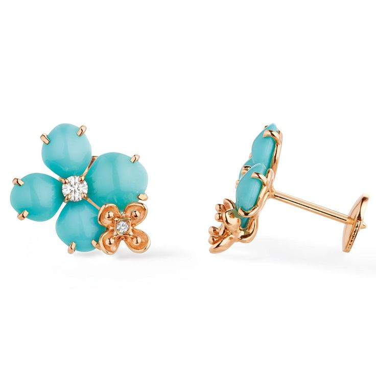 Chaumet's Hortensia collection earrings in turquoise with rose gold and diamonds. http://www.thejewelleryeditor.com/shop/product/chaumet-hortensia-turquoise-earrings/?current_section=jewellery #jewelry