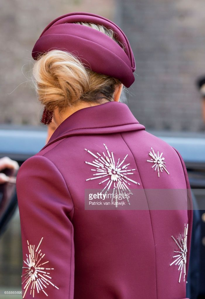Details of the outfit from Claes Iversen of Queen Maxima of The Netherlands during the visit of the Argentinean President to prime minister Mark Rutte at The Binnenhof on March 28, 2017 in The Hague, The Netherlands. The President of Argentina is in the Netherlands for a two-day official state visit. (Photo by Patrick van Katwijk/Getty Images)