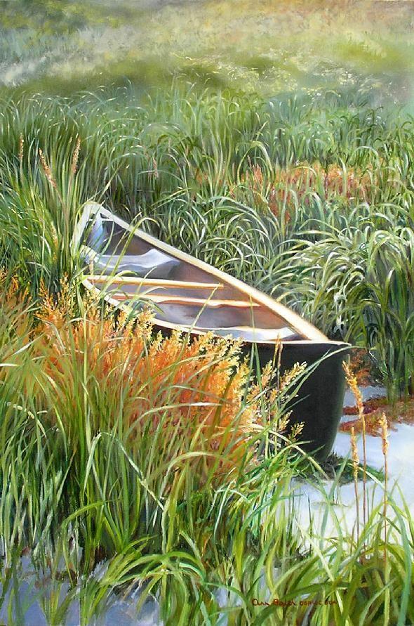 Canoe hidden in sea grass by Canadian artist Ann Balch