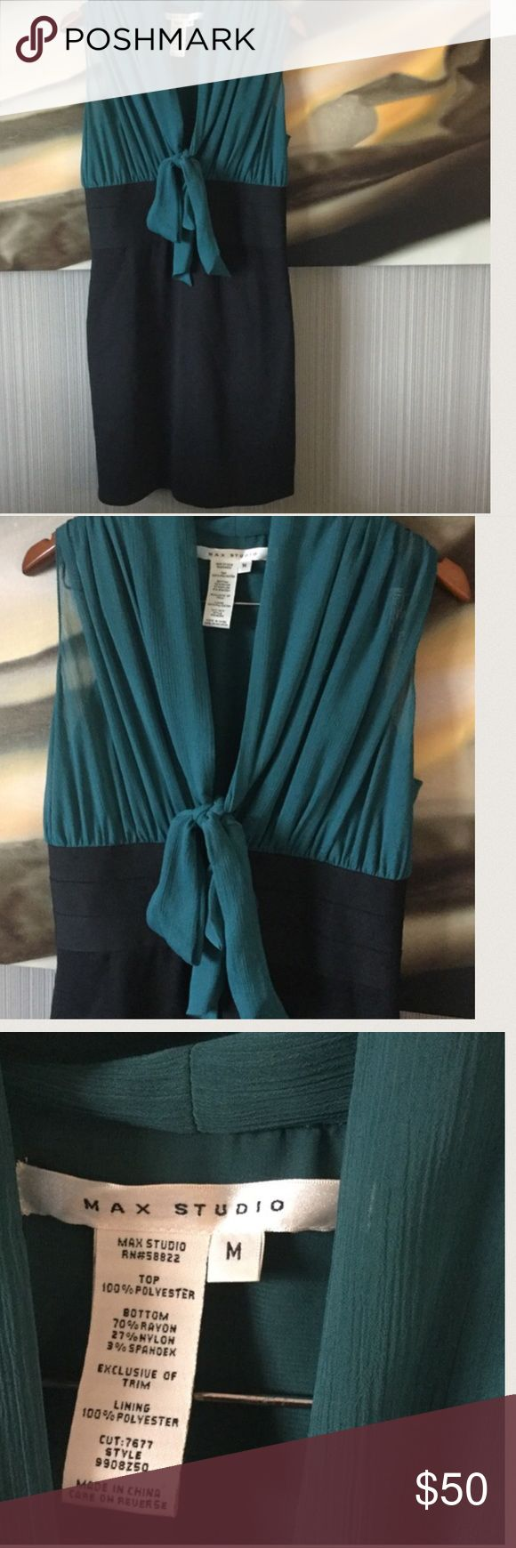Teal and Black Dress with Cute Tie Feature Teal sheer top with black bottom dress. The top have a built in Cami. Banded waist for shape definition. 37 1/2 inches flat. JUST ADD BOOTS AND BLACK JACKET to be fall and winter ready! Max Studio Dresses Midi