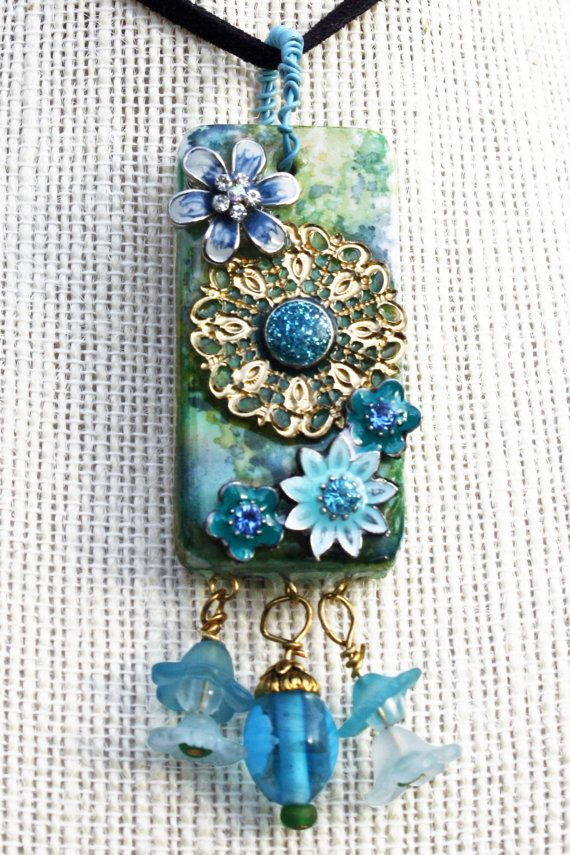 156 best rubber stamped domino pendants and tutorial images on blue flowers domino collage pendant beautiful glued on embellishments and hanging beads on alcohol inked aloadofball Image collections