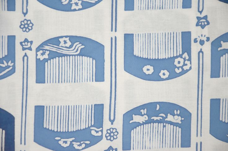 """Japanese Comb motif Yukata Bolt.  100 % Cotton. Made in Japan. Japanese traditional comb patterned fabric originally for """"Yukata"""". Chusen dyeing tenugui which is reversible (the same patterns appear both on front and reverse sides). Not only for making up traditional """"Yukat""""Yukata"""", ideal for making clothing, accessories, décor, craft supplies and more. Size : 38 cm (15.35 inches) width x 1 metre (39 inches) length up to 12 metres."""