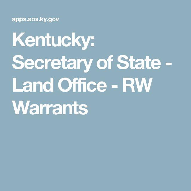 Kentucky: Secretary of State - Land Office - RW Warrants