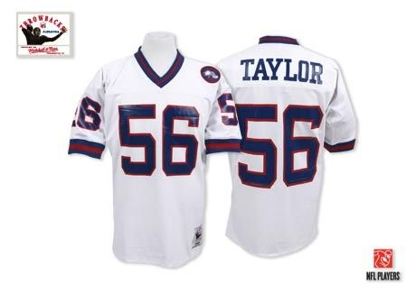 New York Giants Lawrence Taylor Jersey #56 Authentic Throwback Mitchell and Ness White NFL Jersey Sale