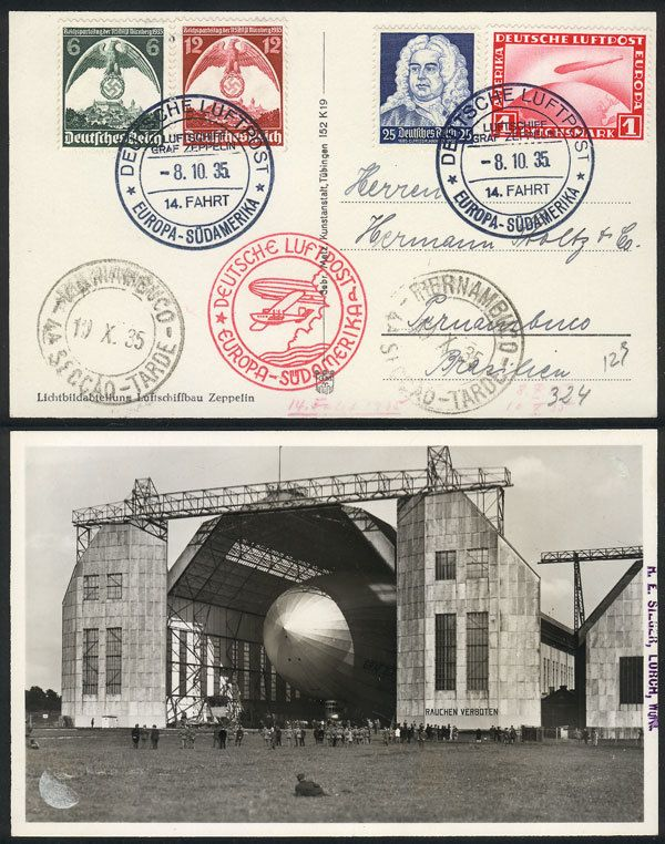 German Empire (1933/45, Third Reich), PC with view of Zeppelin inside a hangar, dispatched onboard the airship on 8/OC/1935 to Pernambuco (Brazil), nice postage, excellent quality! Starting Price (11/2016): 45 EUR.