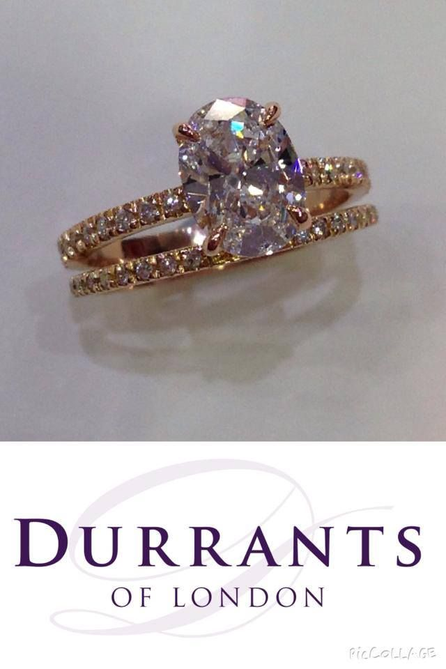 Our 18ct rose gold oval diamond micro set split band engagement ring - Stunning.