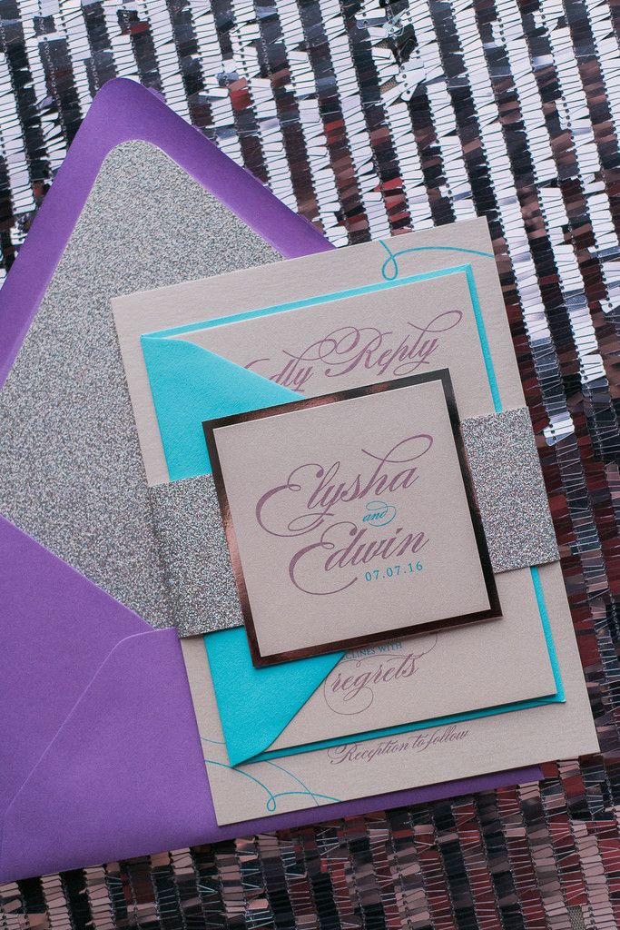 LAUREN Suite Glitter Package, turquoise and purple, silver glitter, wedding invitations