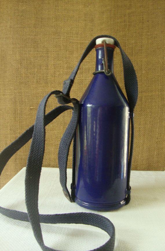 PRE WWII Cobalt Metal Water Bottle Military Enamelware Water