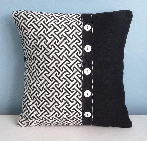 Black and white pillow cover. 18 inch decorator pillow. Embellished pillow. Modern throw pillow. Graphic pillow original design toss pillow.