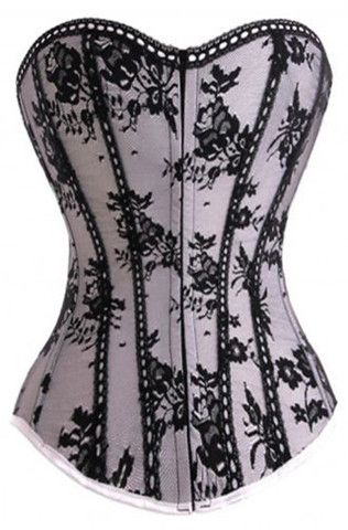 Oriental Flowers Zip Corset | Atomic Rocket Clothing Burlesque Clothing