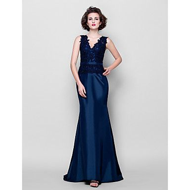 Trumpet/Mermaid Plus Sizes Mother of the Bride Dress - Dark Navy Sweep/Brush Train Sleeveless Taffeta/Lace – USD $ 89.99