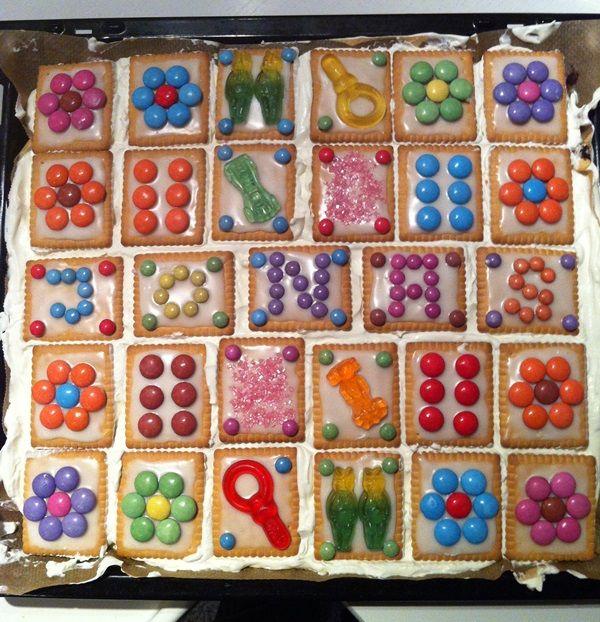 Hallo meine lieben, ja, mein großer wurde diese Woche schon sechs Jahre alt. Da musste natürlich ein Kuchen für den Kiga her. Das Geburtstagskind wünschte sich einen bunten Kuchen mit Smarties. Kind wünscht, Mama erfüllt 🙂 und das war das Ergebniss.   Da dieser super angekommen ist, was tolles für die Augen und absolut …