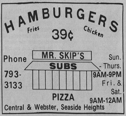 Mr. Skips Restaurant Advertisement 1970s. Mr. Skip's was owned and operated by the Cocci family was located at the former location of the old bus terminal in Seaside Heights on the east side of Centeral Avenues between Sumner and Webster…