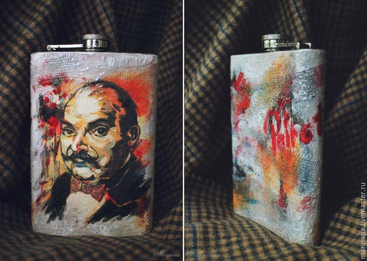 "Stainless Steel Flask ""Hercule Poirot"". 9-Oz, handmade, decoupage."