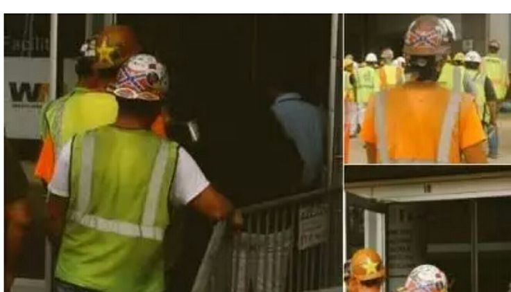 Confederate symbols worn on hard hats at the Mercedes-Benz Stadium construction site are creating controversy. (Credit: Channel 2 Action News)...don't complain...wear anti-rebel symbols