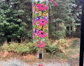 Pintado a mano flores rosadas y amarillas libélulas Colibrí alimentador pintadas a mano con pico flor