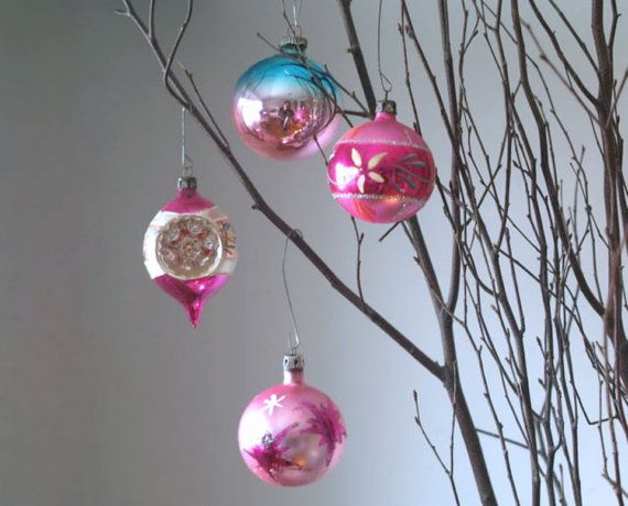 Vintage Pink Christmas Ornaments Vintage Set of by 5gardenias, $24.00