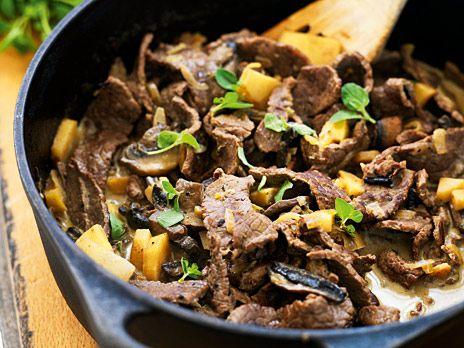 En snabb gryta med rotfrukter och lövbiff. Ät den som den är för en bra GI-middag. Receptet kommer från kokboken 6 kilo på 6 veckor.