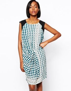 Y.A.S Meadow Dress with Knot Front in Geometric Print