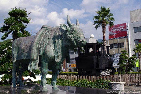 In front of JR Uwajima Station in Ehime Prefecture, Shikoku.