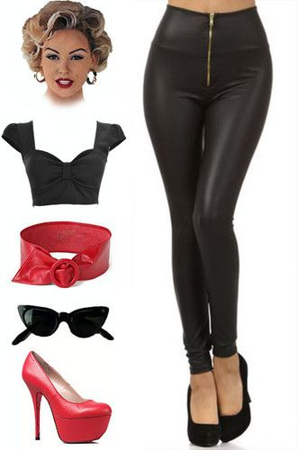 Just restocked at Le Bomb Shop! Find them here: http://www.ebay.com/itm/50s-Style-RIZZO-Grease-HIGH-WAIST-Matte-Black-Vegan-Leather-ZIPUP-PINUP-Leggings-/141024779055?pt=US_Womens_Leggings==item667b34a029