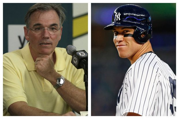 A's general manager Billy Beane, left, and Yankees right fielder Aaron Judge. (File photos)