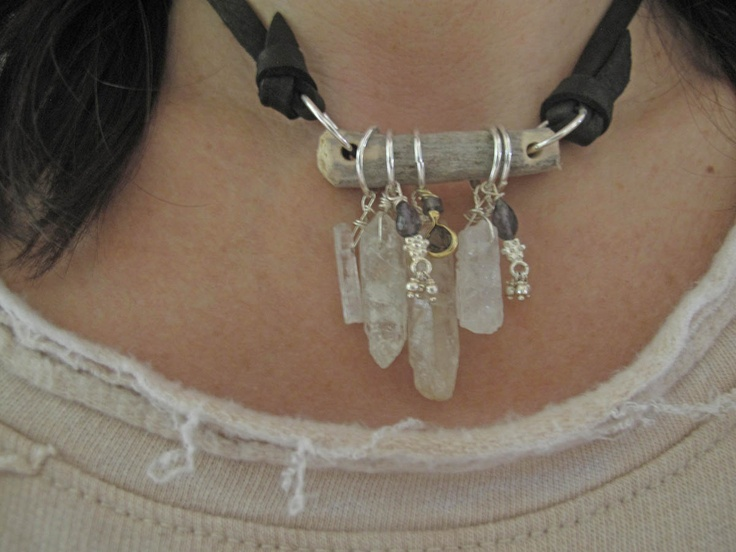 for Liz the memory keeper's daughter necklace urban bohemia quartz crystals driftwood iolite smoky quartz  kunzite spears  black deerskin. $94.00, via Etsy.