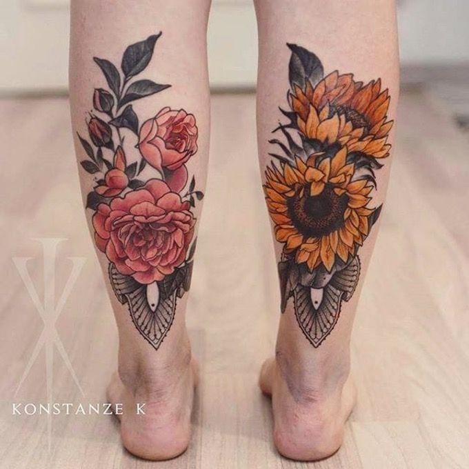 Beautiful floral calf tattoos done by Konstanze K. #KonstanzeK #illustrativetattoos #flower #sunflower #peony