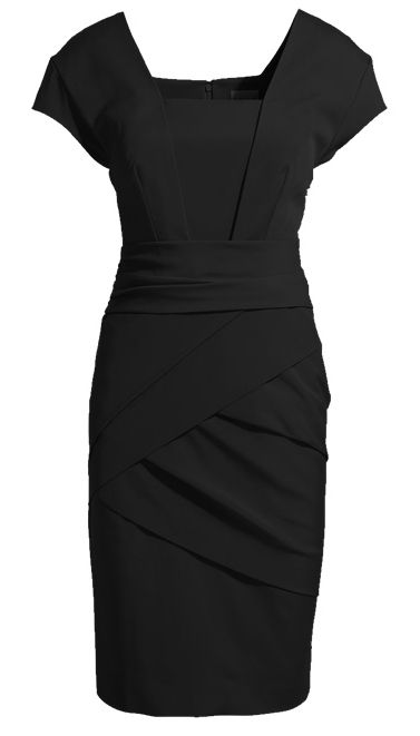 Black Short Sleeve Back Zipper Bodycon Dress