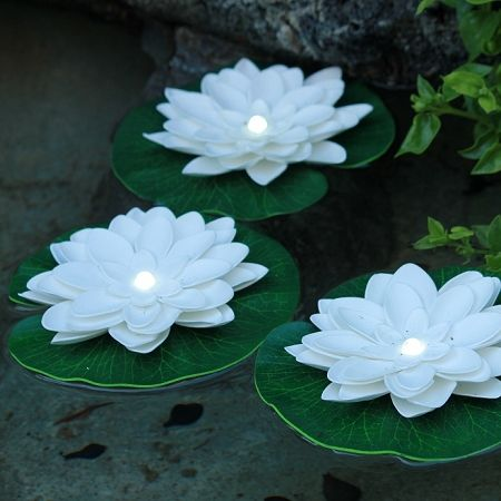 lily pad floating solar lights | Floating lily pad with white LED
