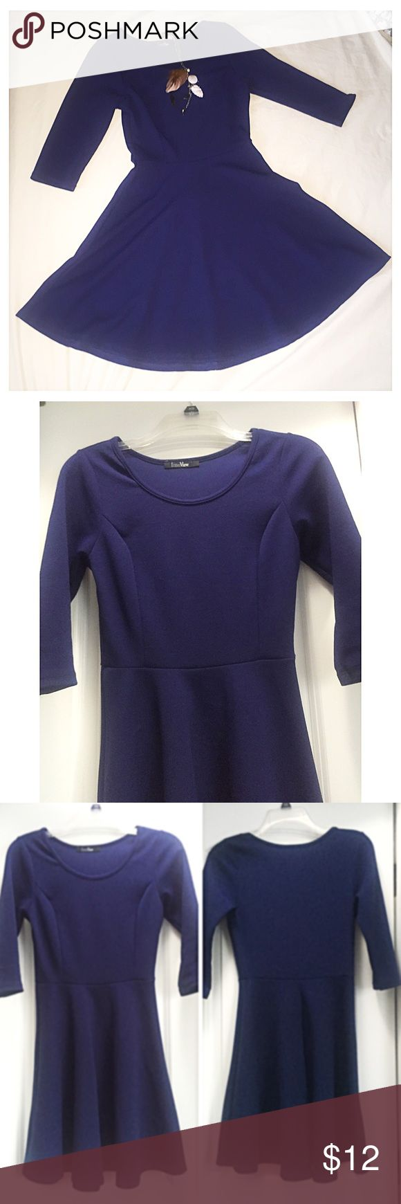 Navy skater dress Navy skater dress, half sleeve. Size: S. Condition: like new. About 85cm long. Sorry, no trades. Like the item but not the price, feel free to make me a reasonable offer using the offer button below. Charlotte Russe Dresses Long Sleeve