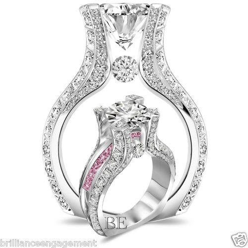 Fancy  TCW Round Custom Design Diamond Pink Sapphire Engagement Ring Size eBay