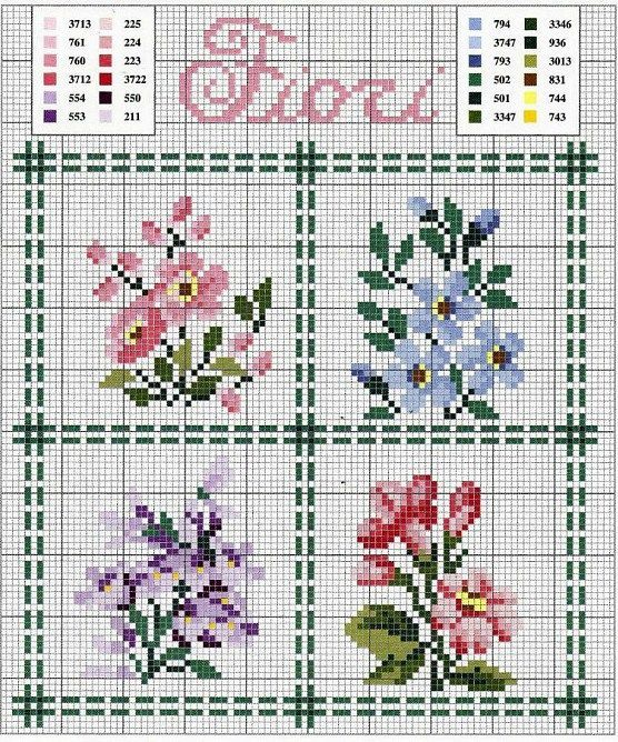 EMBROIDERY – CROSS-STITCH / BORDERIE / BORDUURWERK – FLOWER / FLEUR / BLOEM - miniature needlework chart