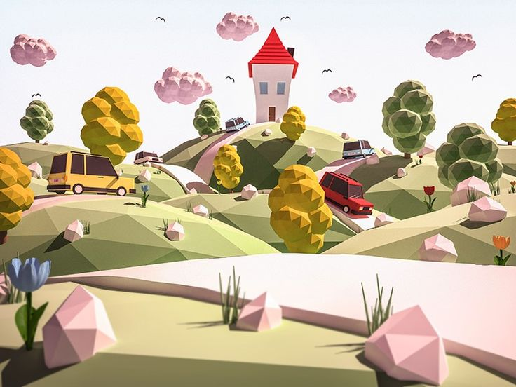 One more landscape illustration. Check it out on Behance: https://www.behance.net/gallery/49095345/Low-poly-illustrations