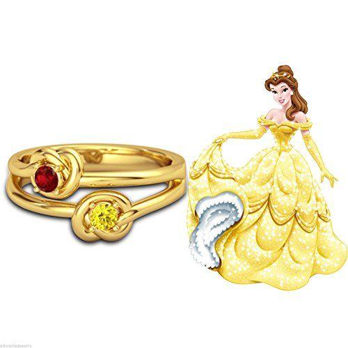 Designer 14k Gold Gp Ruby Citrine Disney Princess Belle Wedding Ring SilverDew