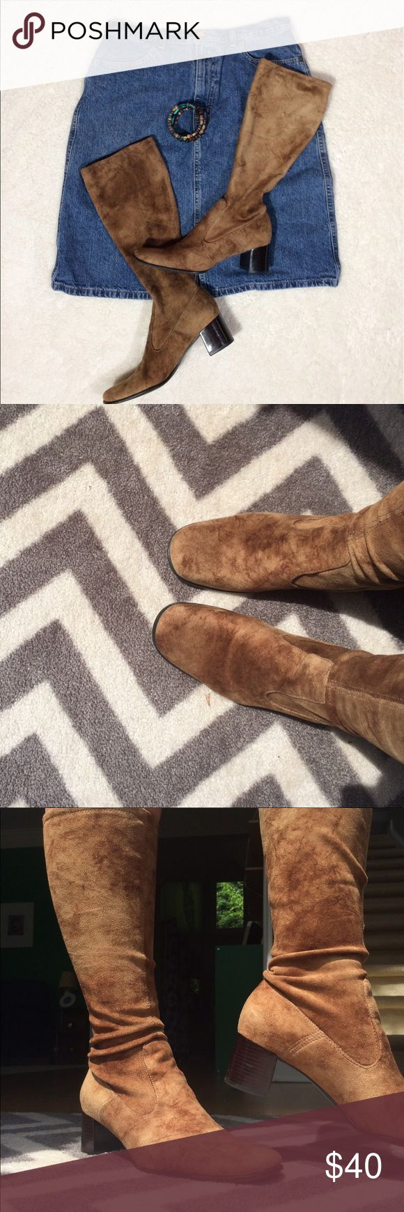 Franco Sarto Soft Light Brown Boots EUC Great Condition! Very soft and somewhat stretchy. Reaches mid calf. Size 8.5, 2in heels, top of boot is 14.5in from top of heel Franco Sarto Shoes Heeled Boots