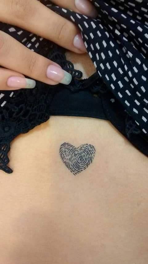 Small heart fingerprint tattoo. – Little Tattoos for Men and Women