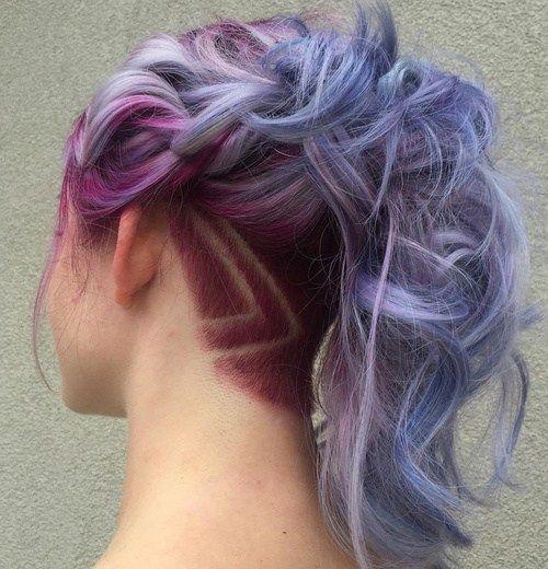 pastel purple ponytail with nape undercut